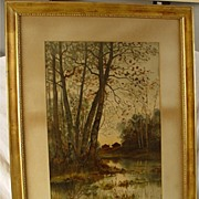 Antique Gold Gilt Gesso Frame With Antique Print By Harlow