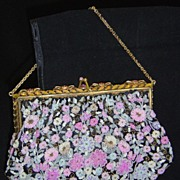 SALE REDUCED COUTURE!! 1940s French Micro Beaded Purse