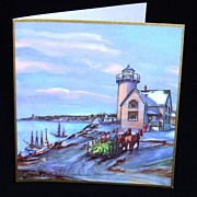 Lot of 5 Vintage Holiday Cards Depicting an East Coast Snowing Evening