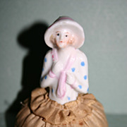 REDUCED German vintage half doll pincushion