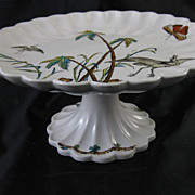SALE English Victorian Footed Cake Plate -  Herons & Palms 1882