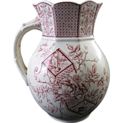 SALE Victorian Aesthetic Red Transferware Pitcher - 1886