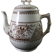 SALE Large Aesthetic Brown Transferware Coffee Pot -  1882