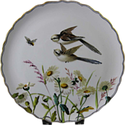 SALE English Victorian Cabinet Plate with Birds & Bee 1880s
