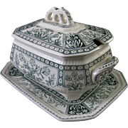 SALE Victorian English Transferware Covered Tureen with Underplate - 1888
