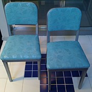 Pair of 1950's Turquoise Aluminum Chairs