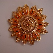 St. John's Knit Inc Enameled Brooch 22k Gold Plate