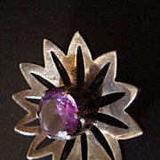 Los Ballesteros Sterling and Amethyst Pendant