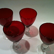 Golf Ball Ruby Morgantown Claret Wine Glass Set of 4