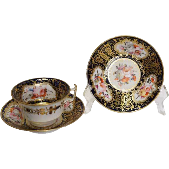 English Soft Paste Porcelain Tea Cup and Saucer from