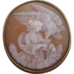 Antique Carved Shell Cameo 15kt Gold Leda and the Swan
