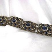 Austro Hungarian Bracelet Silver with Natural Seed Pearls and Sapphire Pastes