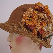 SALE Art Deco, 1920s Flapper Hat, Cloche Silk Flowers and Jewels
