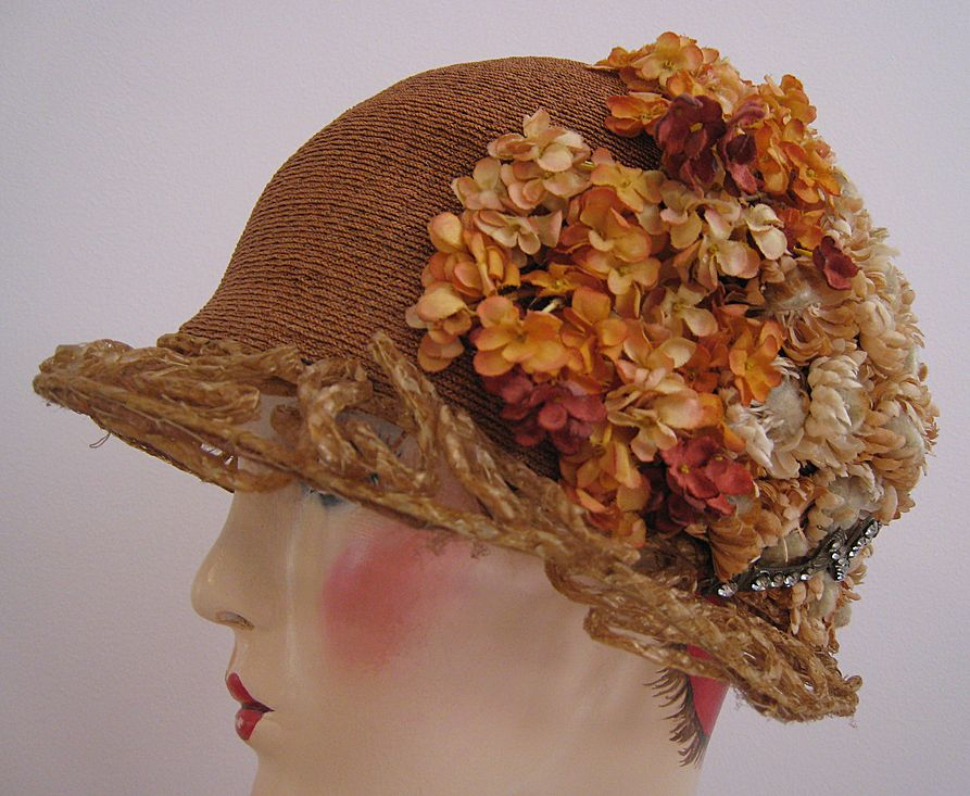 Art Deco, 1920s Flapper Hat, Cloche Silk Flowers and Jewels