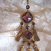 Amazing!! 1960s Christian Dior Pendant Necklace Amethyst Glass Tassels Huge!!