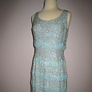 So Glamorous!! Vtg 1960s Aqua Sequins Beaded Column Gown