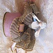 1920s Porcelain Half Doll Powder Box or Sewing Container W/Legs
