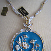 Vtg 1950s Alice Caviness Large Pendant Necklace Raised Enameled Flowers