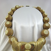 SALE Ugo Correani Italy Necklace Wood and Lucite Huge Drop Balls