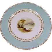 Four Scenic 19th Century Cabinet Plates, Castles, Cottages, Blue Border