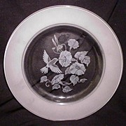 Set of Four Crystal Plates, Frosted Hummingbirds and Morning Glory Vines in Center