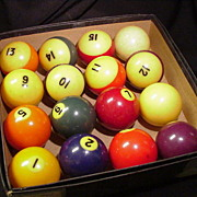 Vintage Set of Celluloid Billiard Balls