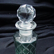 Vintage Perfume Bottle with Paneled Sides, Faceted Stopper, Green and Clear Base