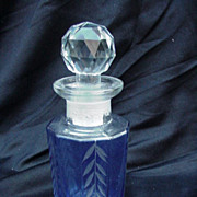 Vintage Perfume with Cobalt Cut-to-Clear Base, Leaf Pattern on Panels