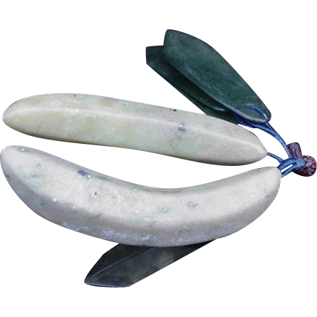 Vintage Cluster of Hardstone Jade Bananas