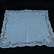 Fine Cotton Handkerchief with Deep Borders of Lace and Elaborate Corners