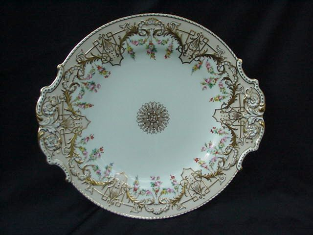 Copeland English Cake Plate, Geometrics, Floral Garlands, Gold