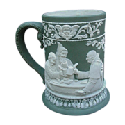 Fabulous Jasperware Stein with High Relief Tavern Scenes, Monks
