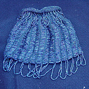 SALE Vintage Drawstring Handbag Covered with Tiny Blue Beads