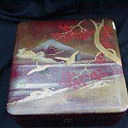 19th C. Japanese Lacquerware Box, Cranes, Mt. Fuji