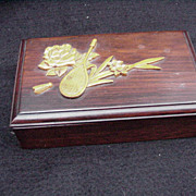 Exquisite Wood Box with Dyed and Carved Scene on Lid