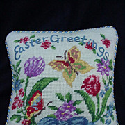 Vintage Needlepoint Pillow, Easter Greetings, Butterflies and Flowers