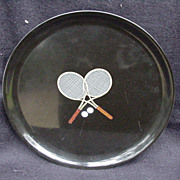 Vintage Couroc Tray with Tennis Motif, Monterey, California