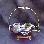 Ruby Red Glass Bowl with Goldtone Metal Frame with Elaborate  Handle and Base