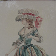 Hand-Colored Engraving of  French Woman in 18th C. Costume
