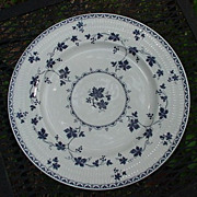 Royal Doulton Dinner Plate, Yorktown Pattern, Blue Grape Leaves on White Porcelain
