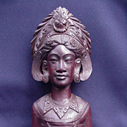 Beautiful Balinese Wood Carving of Goddess Head