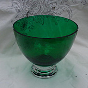 Elegant Glass, Forest Green  Crystal Bowl with Clear Base