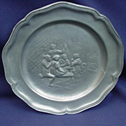 Vintage Pewter Plate with Tavern Scene in Relief