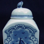 Blue and White Porcelain Tea Caddy, Delft Style