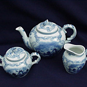 Vintage Delft Porcelain Tea Set, Sailing and Windmill Scenes