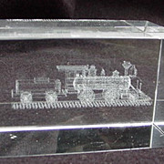 Vintage Glass Paperweight with Locomotive Etched in Interior of Glass