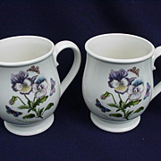 Pair of Portmeirion Botanic Gardens Coffee Mugs, Pansy