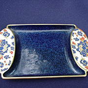 Carlton Ware Tray, Cobalt with Gold Accents and Floral Decoration