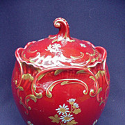 French Majolica Biscuit Barrel, Turquoise Interior, Magenta Exterior, Gold Scrolling and Flora