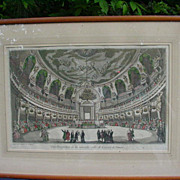 18th C. Paris,  Hand-Colored Engraving of the New Concert Hall of Venice